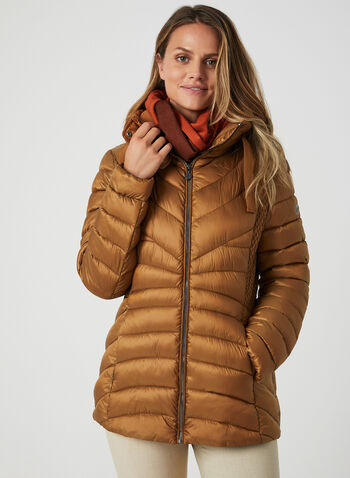 Bernardo - Weatherproof Coat EcoPlume™, Brown,  coat, compressible, Bluesign, eco-responsible, long sleeve, polyester, quilted, lightweight, ruching, fall 2019, winter 2019