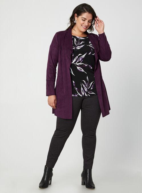 Faux Suede Open Front Jacket, Purple