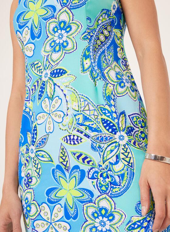 Robe imprimé cachemire et col avec détail bijou, Bleu, hi-res