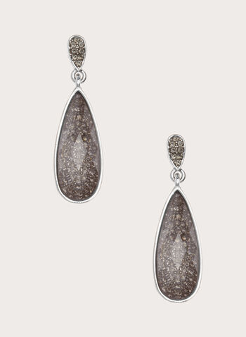 Dangle Teardrop Crystal Earrings, Grey, hi-res