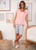 Grid Print Pull On Shorts, White