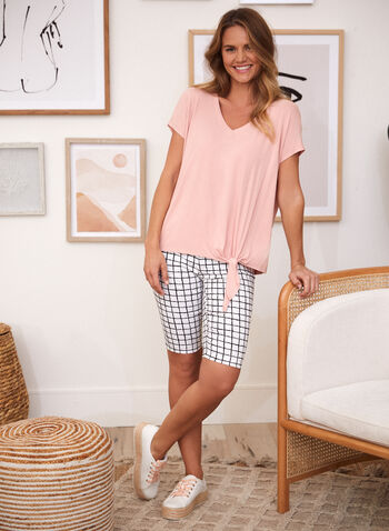 Grid Print Pull On Shorts, White,  spring summer 2021, made in Canada, shorts, slim leg, pull-on, elastic waist, plaid, grid print, checkered, check print