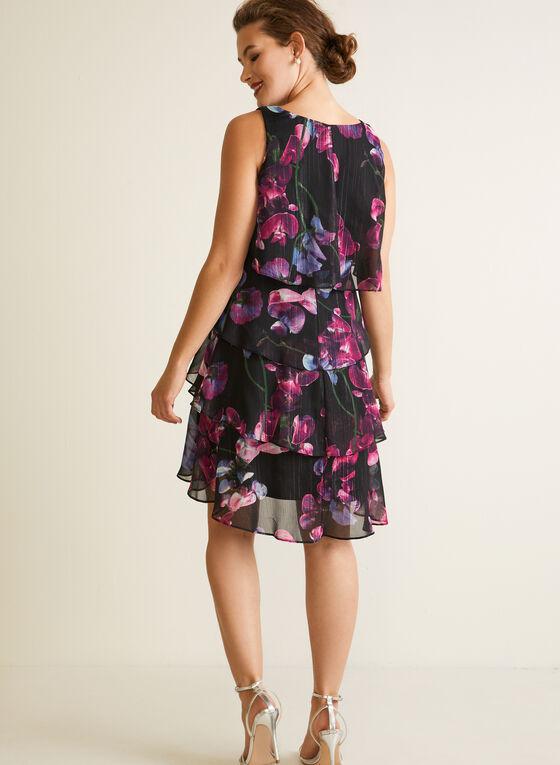 Ruffled Floral Dress, Black