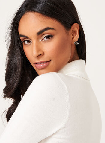 Long Sleeve Turtleneck Sweater, White, hi-res