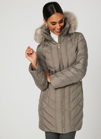 Anne Klein – Quilted Down Coat, Brown, hi-res
