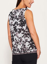 Sleeveless Floral Print Double Layer Blouse  , White, hi-res