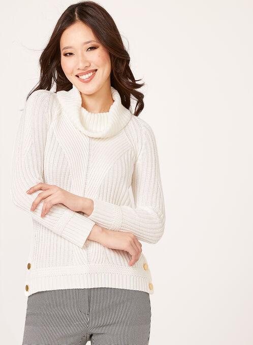 Embellished Cowl Neck Ribbed Sweater, Off White, hi-res