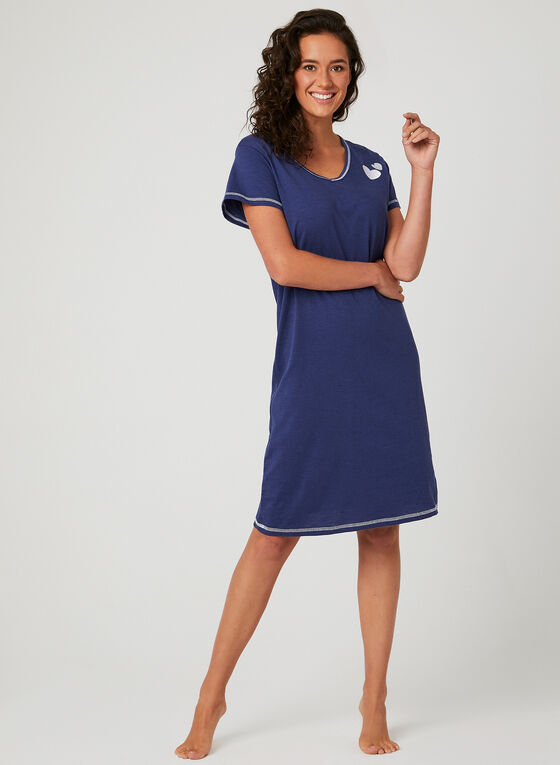 Bellina - Contrast Stitch Nightgown, Blue, hi-res