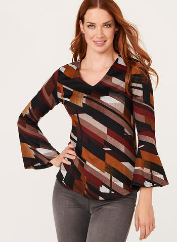 Geometric Print Bell Sleeve Top, Brown, hi-res