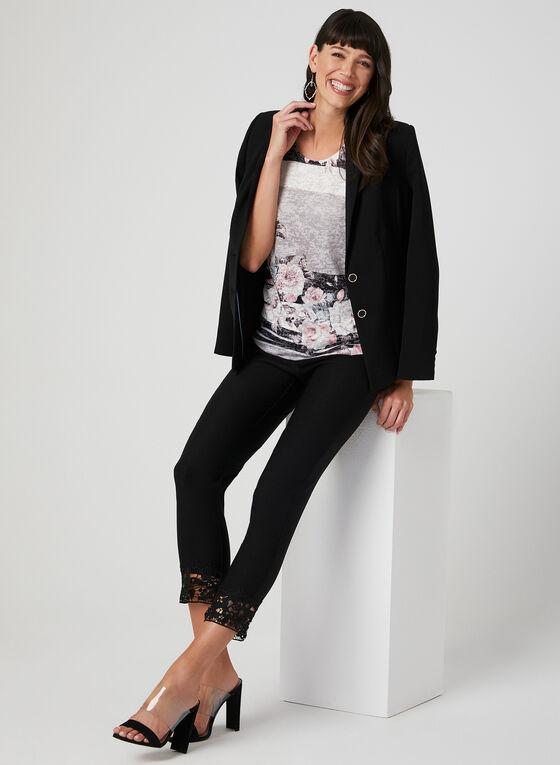 Pantalon à jambe étroite et ourlet en dentelle crochet, Noir