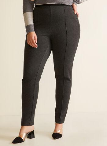 Slim Leg Pull On Pants, Grey,  pants, pull-on, slim leg, pockets, pleats, fall winter 2020