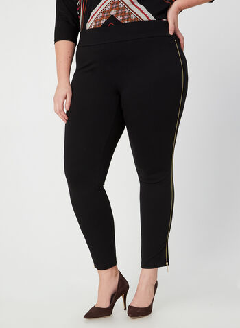 Zipper Detail Leggings, Black,  fall winter 2019, ponte di roma, zipper, pull-on leggings