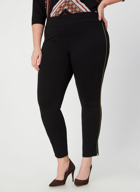 Zipper Detail Leggings, Black