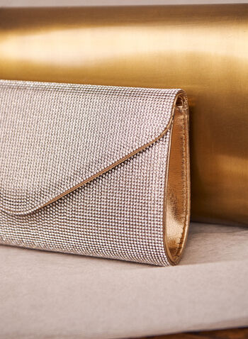 Crystal Envelope Clutch, Gold,  clutch, bag, envelope, crystals, golden, metallic, chain, magnet, spring summer 2020