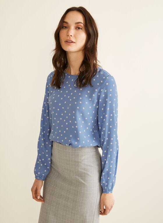 Polka Dot Print Blouse, Blue