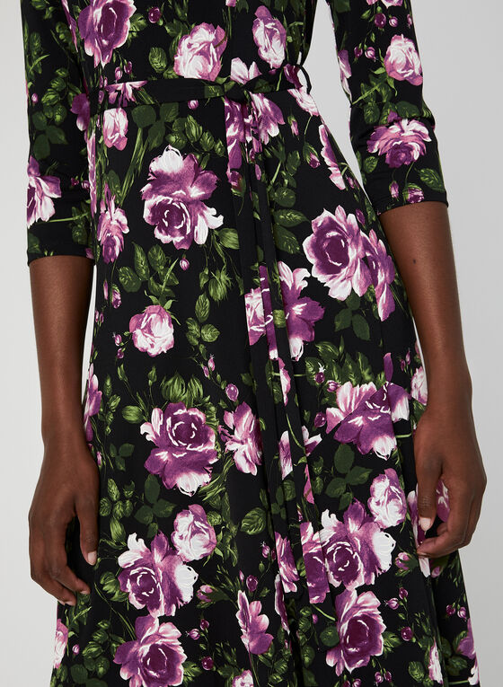 Nina Leonard – Floral Print Midi Dress, Black, hi-res