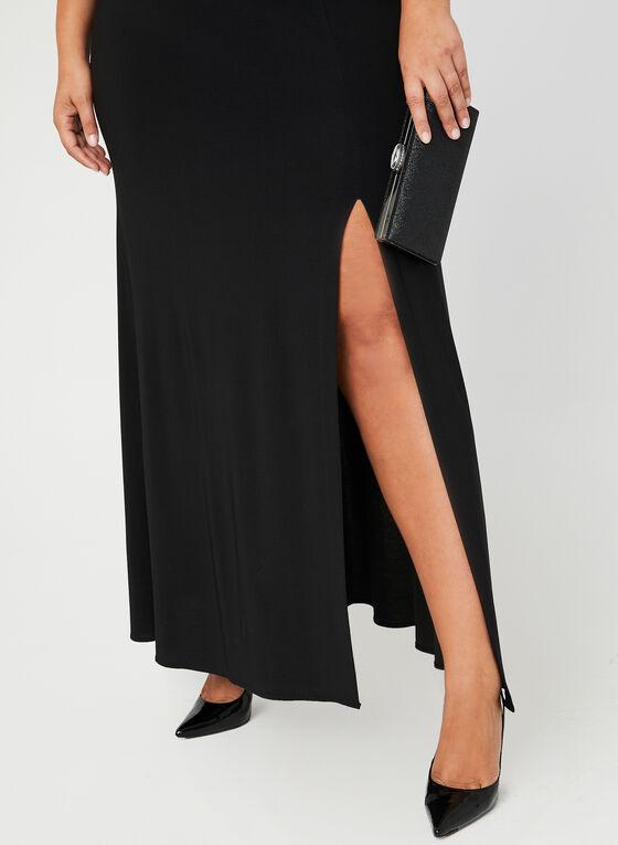 Robe bi-matière à corsage pailleté, Noir, hi-res