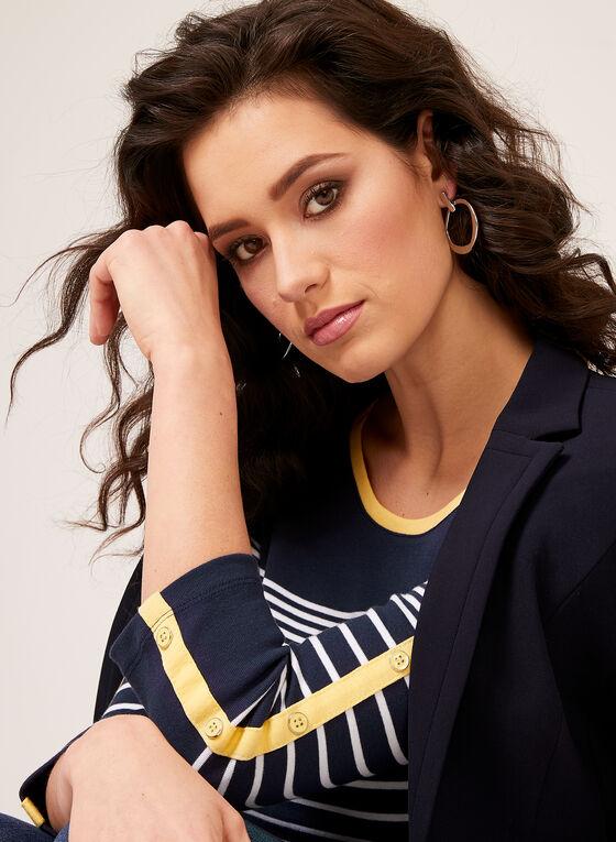 T-shirt en coton à rayures, Bleu, hi-res
