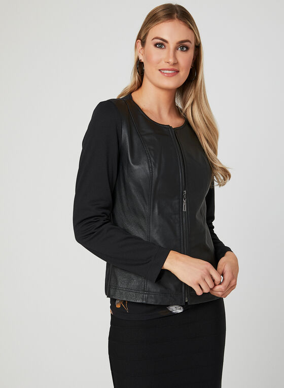 Leather Detail Jacket, Black, hi-res
