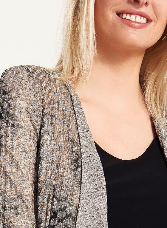 Vex - Veste drapée en tricot chiné et imprimé, Brun, hi-res