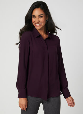 Long Sleeve Crepe Blouse, Purple, hi-res,  blouse, collar, button down, long sleeves, crepe, fall 2019, winter 2019