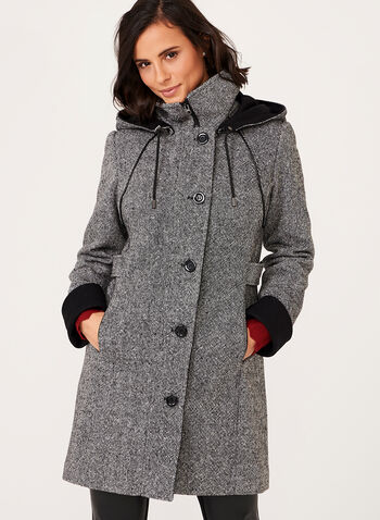 Leather Trim Tweed Wool Coat, Black, hi-res