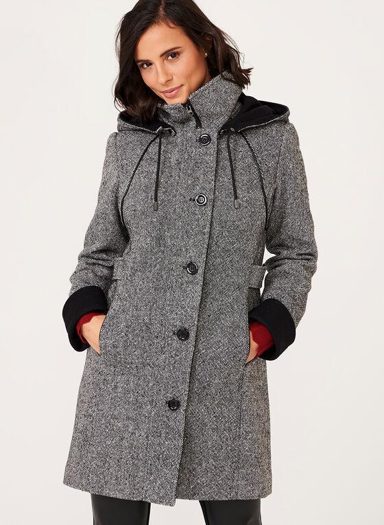 Manteau en tweed à capuchon amovible, Noir, hi-res