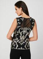 Metallic Baroque Print Top, Black, hi-res