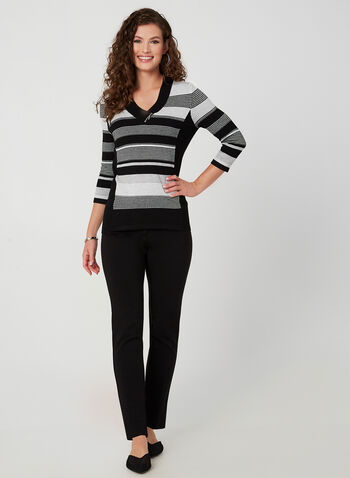 Striped V-Neck Sweater, Grey,  knit, striped, 3/4 sleeves, fall winter 2019