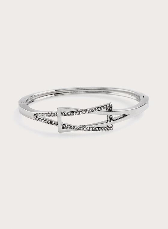 Bracelet rigide avec détail cristal , Argent, hi-res