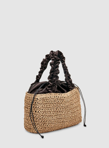 Ruffle Handle Straw Bag, Off White, hi-res,  woven, spring 2019, summer 2019