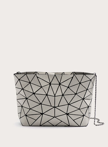 Geometric Bucket Bag, Silver, hi-res