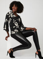 Abstract Print Bell Sleeve Top, Black, hi-res
