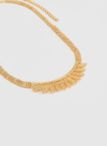 Short Metallic Crystal Necklace, Gold,  short necklace, necklace, crystals, crystal necklace, metallic, metallic necklace, holiday, fall 2019, winter 2019