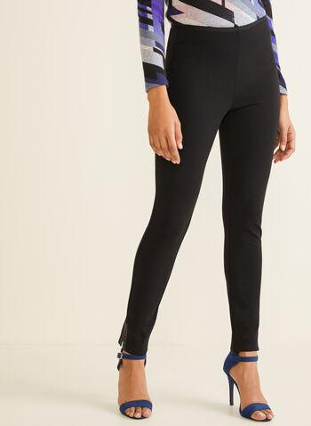 Legging avec strass à l'ourlet, Noir,  automne hiver 2019, legging, jambe étroite, pull-on, taille élastique, fente, ourlet, strass, point de Rome