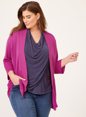Ribbed Detail Open Front Knit Cardigan, Multi, hi-res