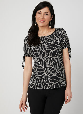 Leaf Print Short Sleeve Top, Black, hi-res