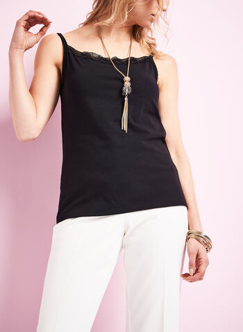 Lace Trim Cotton Cami, , hi-res