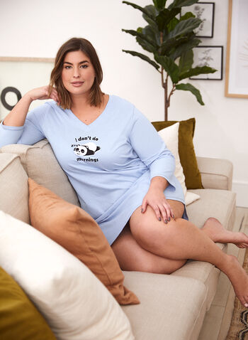 Embroidered Slogan Nightshirt, Blue,  fall winter 2021, fall 2021, sleepwear, nightshirt, nightgown, sleepshirt, pj, pyjama, V neck, 3/4 sleeve, embroidery, embroidered, cat, kitty, kitten, meow, animal print, cotton, sleep, relax