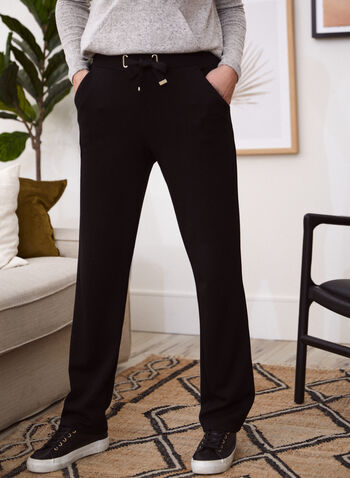 Wide Leg Contrast Trim Pants, Black,  fall 2021, pants, pant, wide leg, pull on, elastic, drawstring, metal, contrast trim, details, slant pockets, comfy, knit, fabric, fluid