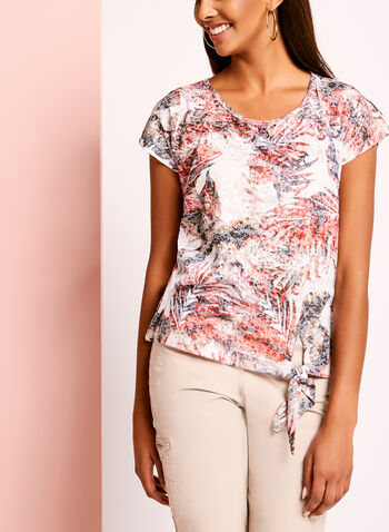 Tropical Burnout Print Tie Front T-Shirt, , hi-res