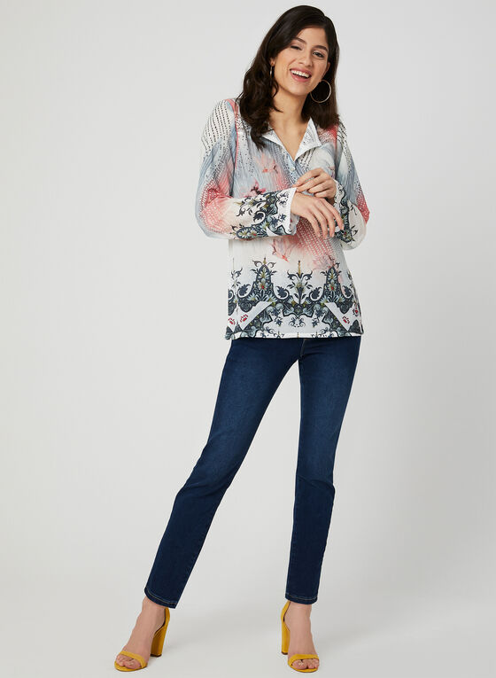 Vex - Abstract Print Blouse, White, hi-res