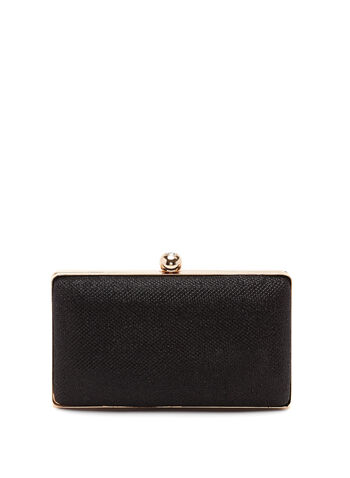 Glitter Embellished Box Clutch, Black, hi-res