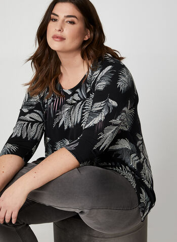 Leaf Print Jersey Top, Black,  Canada, top, jersey, 3/4 sleeves, leaf print, textured, fall 2019, winter 2019