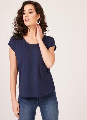 Scoop Neck T-Shirt, Blue, hi-res