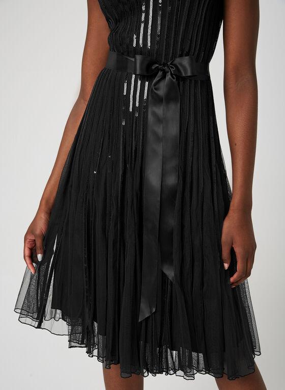 Sequin Mesh Dress, Black