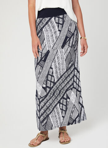 Abstract Print Pull-On Maxi Skirt, Blue, hi-res