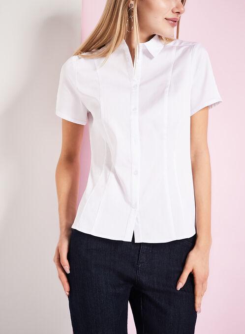 Short Sleeve Button Down Blouse, White, hi-res