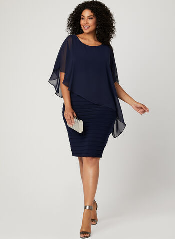 Asymmetric Poncho Dress, Blue, hi-res