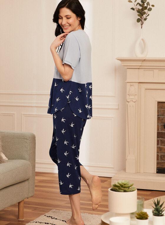 Bird Print Pyjama Set, Blue